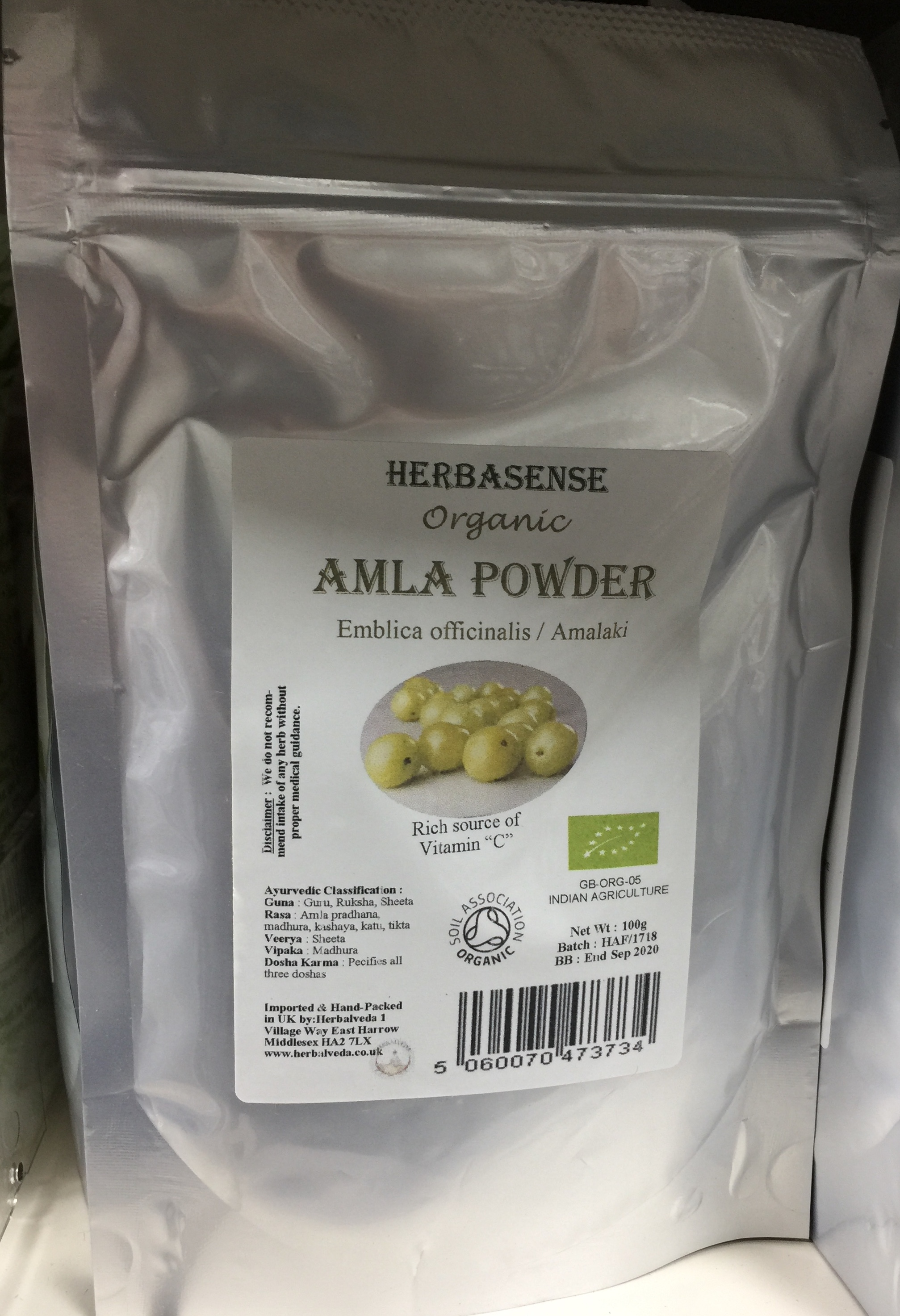 Organic Amalaki Powder Amla Embilica Officinalis Herbalveda Vit Wp 100gram Vitamin